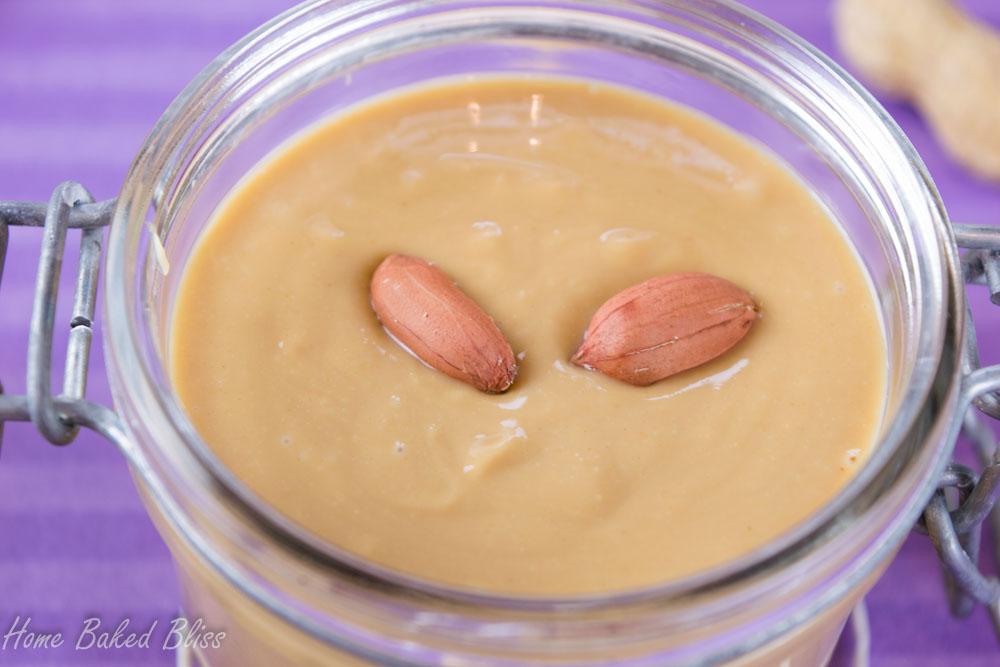 Creamy peanut butter topped off with fresh peanuts