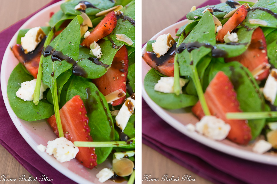 A close up of the Strawberry Feta Spinach Salad