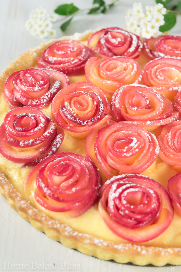 Closeup of the apple rose tart with creme patisserie