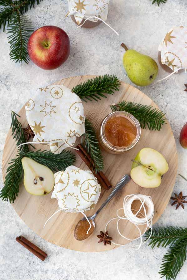 overhead view of apple pear jam in glas jars