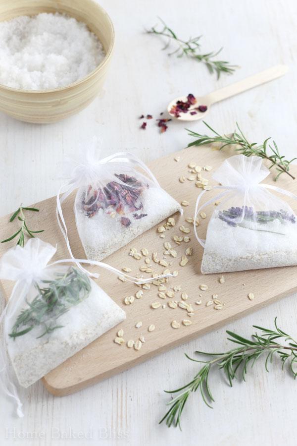 Tub tea sachets on white background