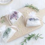 Tub tea sachets with flowers, herbs, oat flour and sea salt