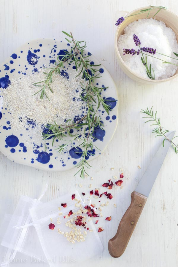 Ingredients for tub tea - dried herbs and flowers