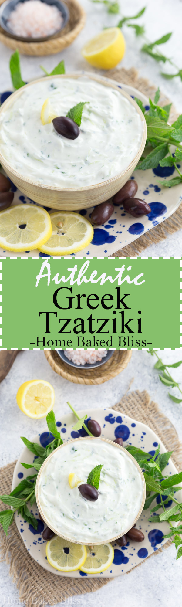 Easy homemade authentic Greek tzatziki. Perfect as a side dish for bbqs and parties. #tzatziki #Greek #bbq #cucumber   homebakedbliss.com