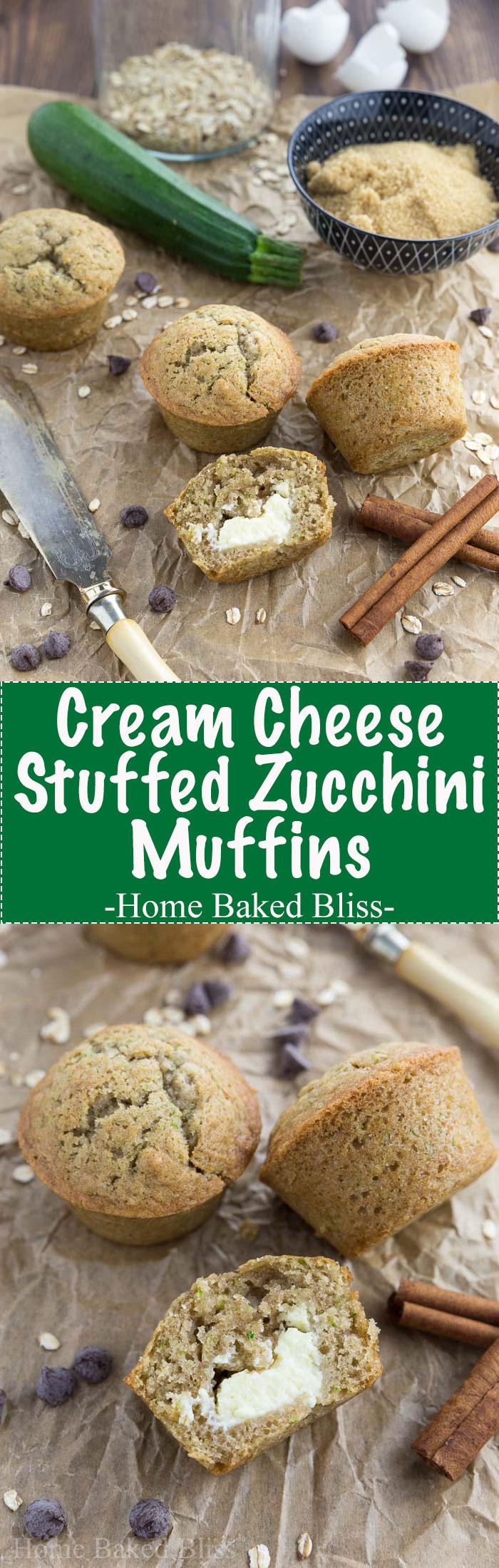 Cream cheese stuffed zucchini muffins next to a green zucchini and a butter knife