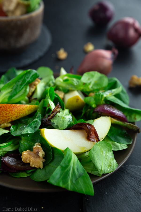 A closeup of the autumn salad on a dark brown plate.