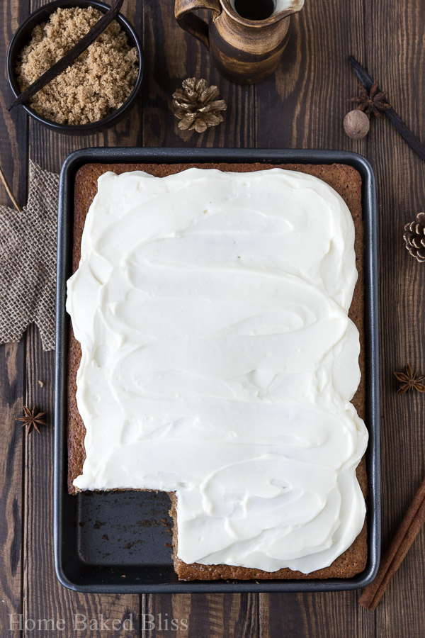A frosted spice sheet cake with cream cheese frosting.