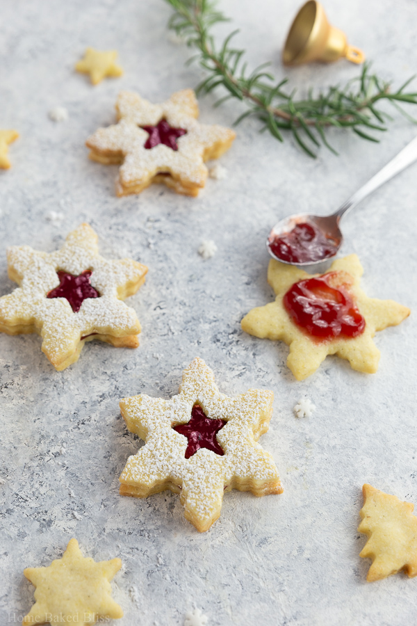 Star shaped Linzer cookies up close.