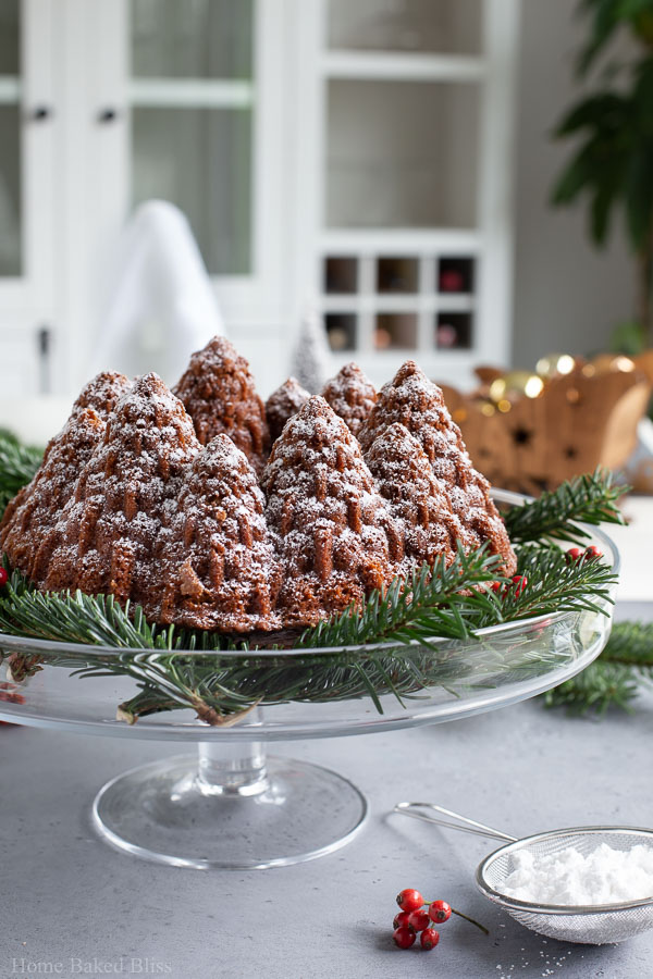 Gingerbread bundt cake with Christmas decor background