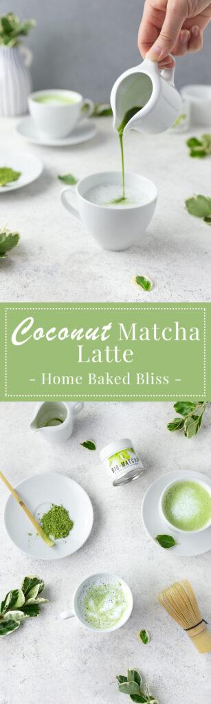 Coconut matcha latte with matcha powder on plate