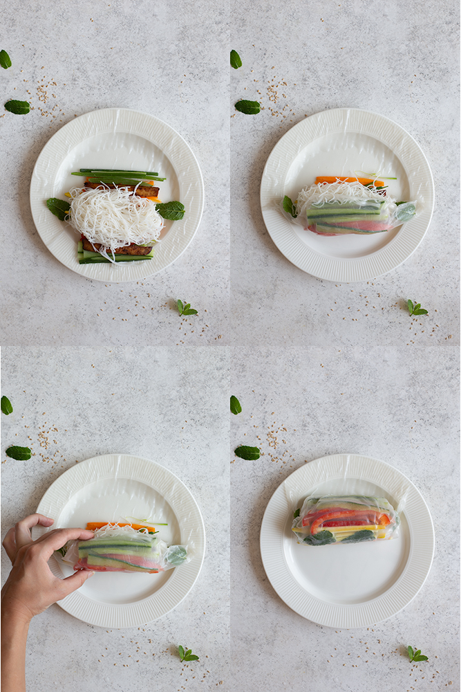 Step by step photos for vegan rice paper rolls 2