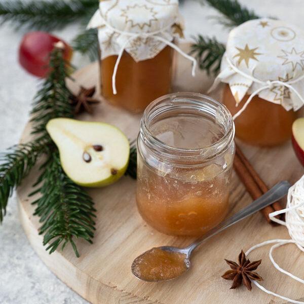 apple pear jam on wooden board